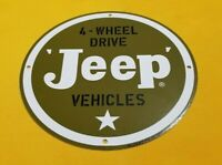 "VINTAGE JEEP PORCELAIN GAS WILLY'S JEEP 4 WHEEL DRIVE SALES & SERVICE 12"" SIGN"
