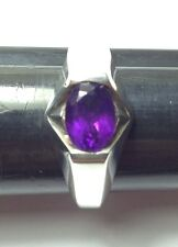 Sterling Silver Ring with Faceted Dark Purple Amethyst Stone Size 7.25 US Size