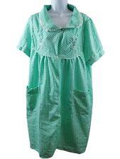 Lati Fashions Womens 2X Green Checkered Nightgown Sleepwear Housecoat