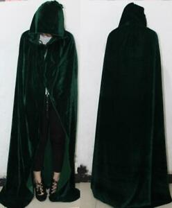 Halloween Unisex Cosplay Death Cape Long Hooded Cloak Wizard Witch Medieval Cape