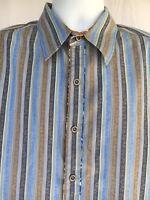 Robert Graham Men's 100% Cotton Striped Full Sleeves Shirt Size Large