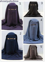 Islam Women 3 Layers Niqab Face Cover Veil Muslim Hooded Full Long Hijab Burqa