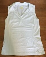 Women's LoLe Sleeveless Athletic Top White LARGE L pinhole perforated collared