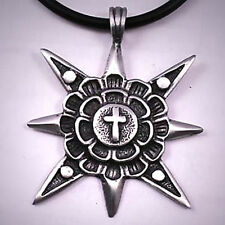 8 Pointed Chaos Star flower Power Peace 70's Disco Gypsy Cross Pewter Pendant