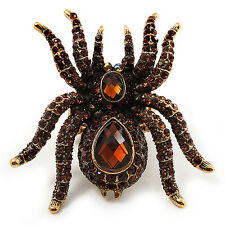 Oversized Amber Coloured Crystal Spider Stretch Cocktail Ring (Antique Gold Tone