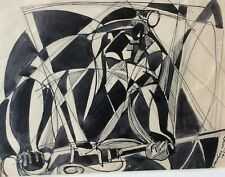 RAPHAEL MOHAR (1906-1962), Ink on Paper, The Guitar Man , Signed & Dated 1952