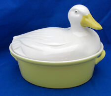 Hall Pottery Carbone Vintage DUCK Roaster Baker Casserole Large 3 Qt Yellow Wht