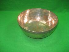 """Vintage Primitive Patina Round Copper Coated Metal 8"""" Serving Bowl Dish Pedestal"""