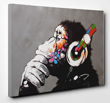 "Banksy DJ Monkey Gorilla Chimp Canvas Print Wall Art Ready To Hang 34""x24"" Large"