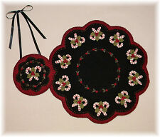 "Primitive Wool Felt Candle Mat Penny Rug Kit, Wool Embroidery ""CHRISTMAS CANDY"""
