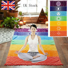 Cotton Boho Blanket 7 Chakra Rainbow Stripes Tapestry Beach Throw Towel Yoga Mat