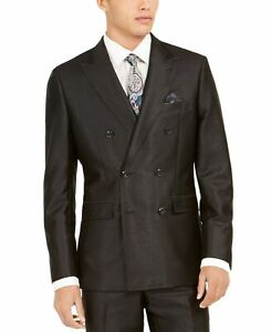Tallia Mens Blazer Black Size 40S Double Breasted Notched Collar $425 #273