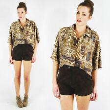 Vintage 90s 70s Boho Hippie Dark Brown Suede Leather High Waist Biker Shorts M