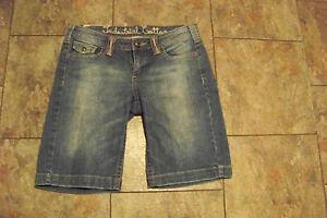 womens industrial cotton faded medium wash denim jeans shorts size 7 29