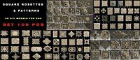 109 PCS 3D STL Model SQUARE ROSETTES for CNC Router Aspire Artcam Cut3D Engraver