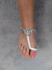 Ladies sandals size 4 white flip flops tie post ankle strap gems casual summer