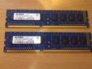 2GB (2x1GB) Elpida 1Rx8 PC3 8500U 1066mhz DDR3 RAM PC Desktop Memory Paired Kit