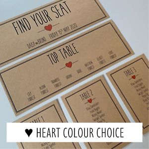 Rustic Heart Individual Table Seating Plan Cards / Colour Choice / Wedding Sign