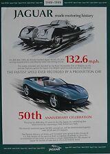 Jaguar XK120 &180 Poster 50 Year 1949 1999 Excellent Condition 59cm x 42cm