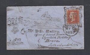 UK SCOTLAND 1857 1D PERF ON HAND DRAWN COVER #221 LEITH VIA EDINBURGH TO BRORA