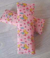 2 Pc Padded Infant Strap Covers / Car / Stroller / Pram / Ducks on Pink