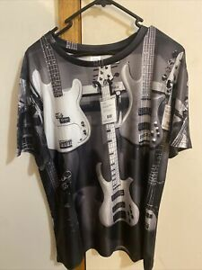 Black And White Soft ELECTRIC Guitarist T-SHIRT tee band music guitar