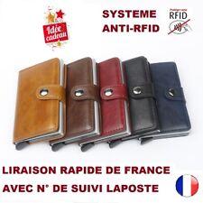 Portefeuille Anti RFID mixte, porte cartes protection piratage cuir pu 5 coloris