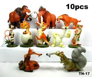 10pcs set Ice Age Dawn of the Dinosaurs Buck Ellie Scrat Figure toy cake topper