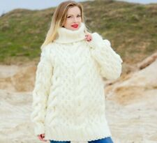 Ivory wool sweater white thick pullover cable knit turtleneck jumper SUPERTANYA