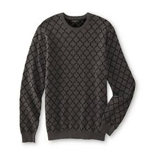 Attention Men's Long Sleeve Crewneck Cotton Pullover Sweater Gray & Black L