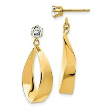 14k Yellow Gold Polished Oval Dangle with CZ Stud Earring Jackets (1IN x 0.4IN)