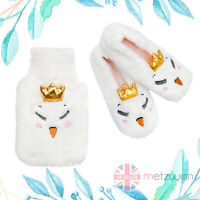 Ladies Swan Slippers + Hot Water Bottle 1 L Faux Fur Cover 2 Pieces Gift Set UK