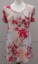 Kim & Co Brazil Knit Floral Essence Ruched Short Sleeve Tunic Size XS - Pink