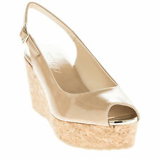 Jimmy Choo Women's Praise' Sling Back Peep-Toe Wedges Nude Patent Leather