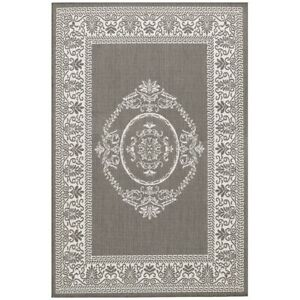 Couristan Recife Antq Medallion Grey & White Indoor/Outdoor Rug