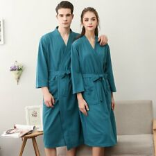 6e873bc3ec63 Womens MENS Cotton Night Robe Sleepwear Waffle Bathrobe Spa Shower Robe  Loose