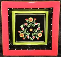 """Living Art Gypsy 10"""" Square Dinner Plate - Black - Floral - White Dots - Red Rim"""