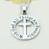 *UK* 925 SILVER PLT 'WITH GOD ALL THINGS ARE POSSIBLE' CRUCIFIX JESUS NECKLACE
