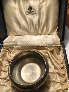 Original Faberge Silver 84 Salt Bowl Boxed 2 Artel