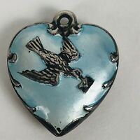 Vintage 1940s Sterling Silver Puffy Heart Bracelet Charm Dove Bird Love Letter