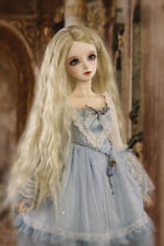 "8-9-10"" 1/3 BJD Blonde Curly Long Wig LUTS Doll SD DZ DOD MSD Pullip Hair HUAL#"