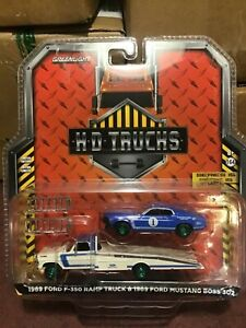 Greenlight  HD  TRUCKS 1969 Ford F-350 ramp truck & Mustang Boss GREEN MACHINE