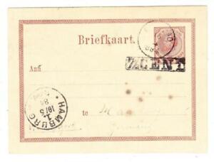 Netherlands Antilles-Postal Card-HG:4(black on hg:1)-CURACAO 16/4/1884-TO GERMAN