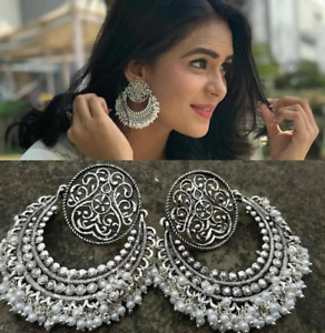 Indian Ethnic Bollywood Style Bridal Jewelry Earring Earrings Silver Plated