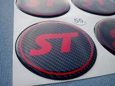 (ST55CR) 4x ST Rot Embleme für Nabenkappen Felgendeckel 55mm Silikon Aufkleber