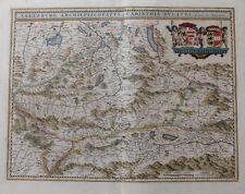 SALZBURG KÄRNTEN KOLORIERTE KUPFERSTICHKARTE JANSSONIUS MERCATOR WAPPEN 1645