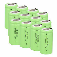 Pack 12pcs Sub C SC 1.2V 2200mAh Ni-Cd NiCd Rechargeable Batteries ,Green