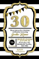 30 40 50 18th Birthday black and gold invitations party with free envelopes x20