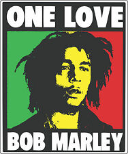 "Bob Marley One Love Music bumper sticker, wall decor, vinyl decal, 5""x 4"""