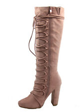 Women's  Lace Up Side Zip Mid-Calf Knee High Chunky High Heel Boots 5.5 - 10 NEW